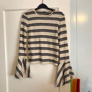 ZARA ribbed bell sleeve shirt, size small